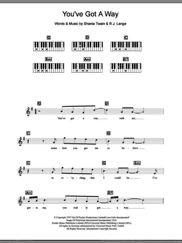 You've Got A Way sheet music for piano solo (chords, lyrics, melody) by Robert John Lange