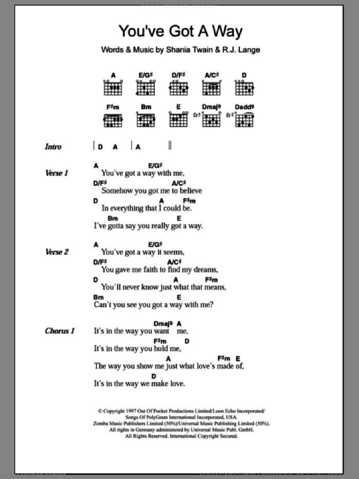 You've Got A Way sheet music for guitar (chords) by Robert John Lange and Shania Twain. Score Image Preview.