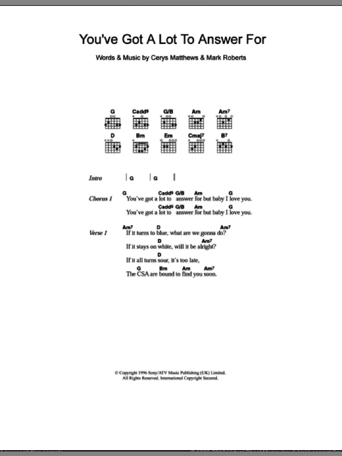You've Got A Lot To Answer For sheet music for guitar (chords) by Mark Roberts and Catatonia. Score Image Preview.