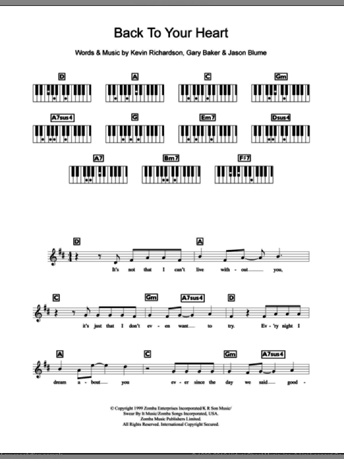 Back To Your Heart sheet music for piano solo (chords, lyrics, melody) by Kevin Richardson, Backstreet Boys, Gary Baker and Jason Blume. Score Image Preview.