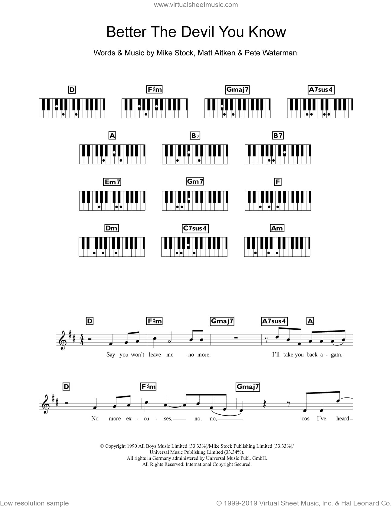 Better The Devil You Know sheet music for piano solo (keyboard) by Steps, Matt Aitken, Mike Stock and Pete Waterman, intermediate piano (keyboard)