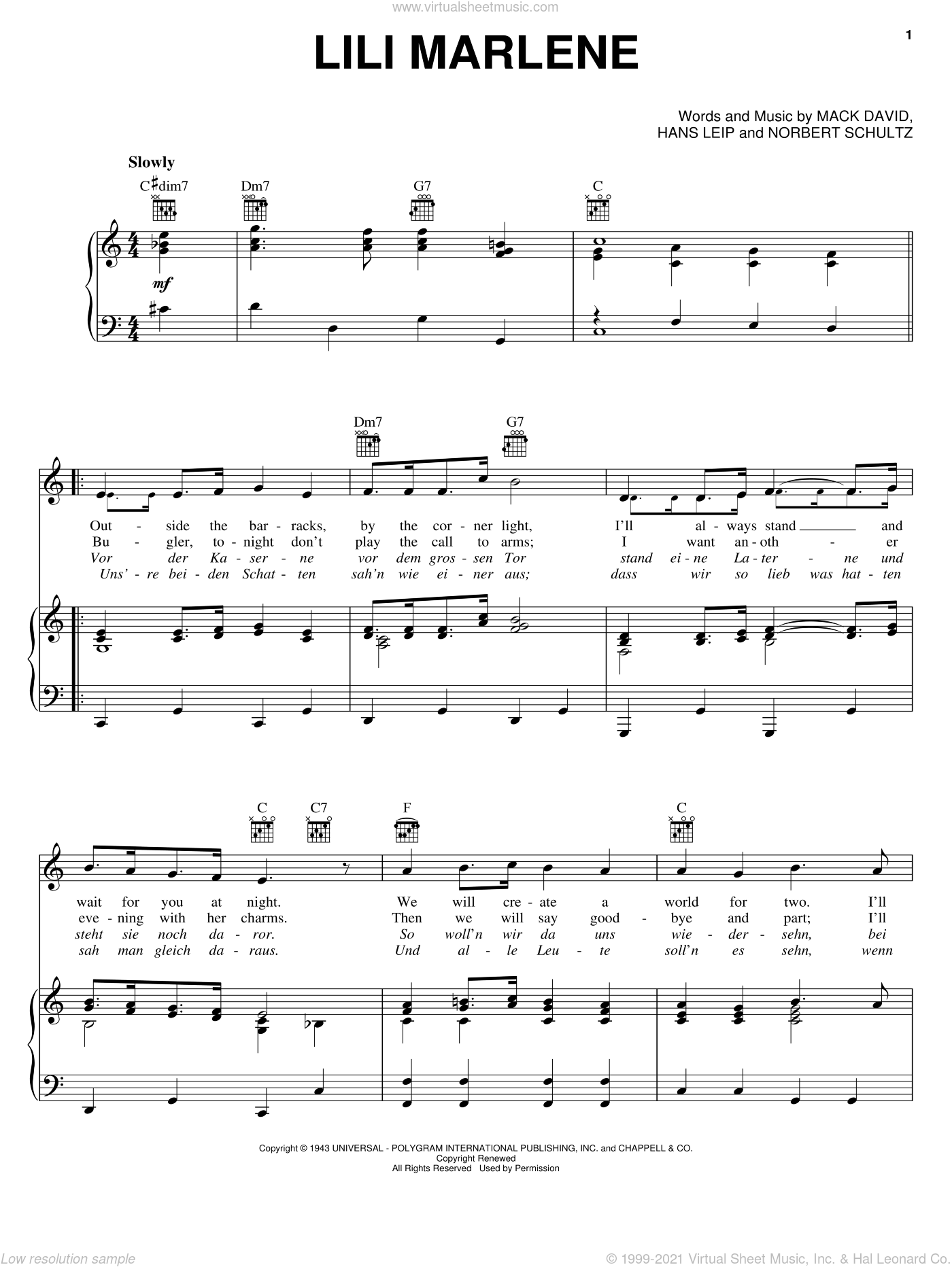 Lili Marlene sheet music for voice, piano or guitar by Marlene Dietrich, Perry Como, Hans Leip, Mack David and Norbert Schultze, intermediate skill level