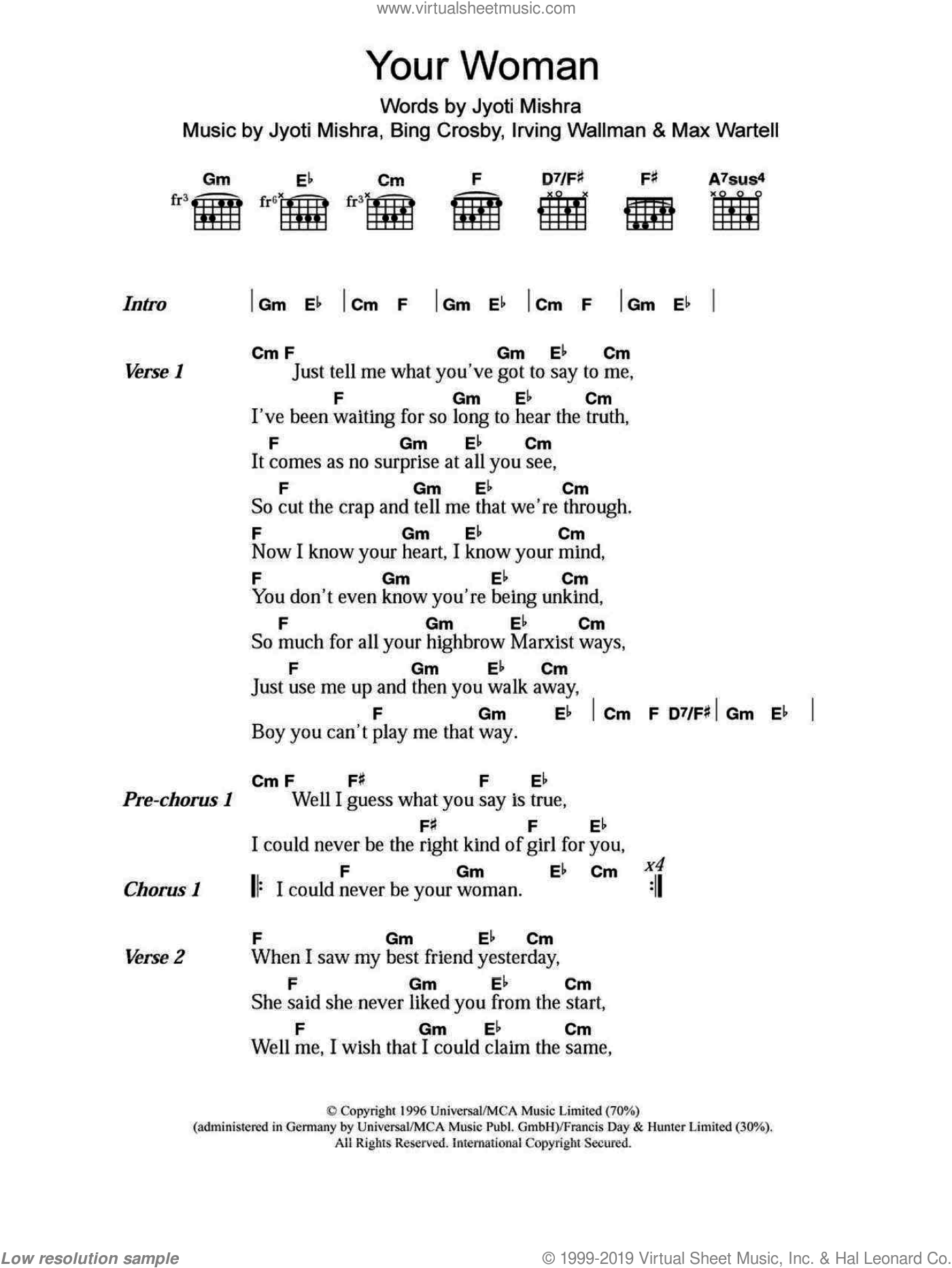 Your Woman sheet music for guitar (chords, lyrics, melody) by Max Wartell