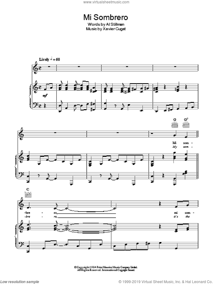 My Sombrero sheet music for voice, piano or guitar by Al Stillman and Xavier Cugat. Score Image Preview.
