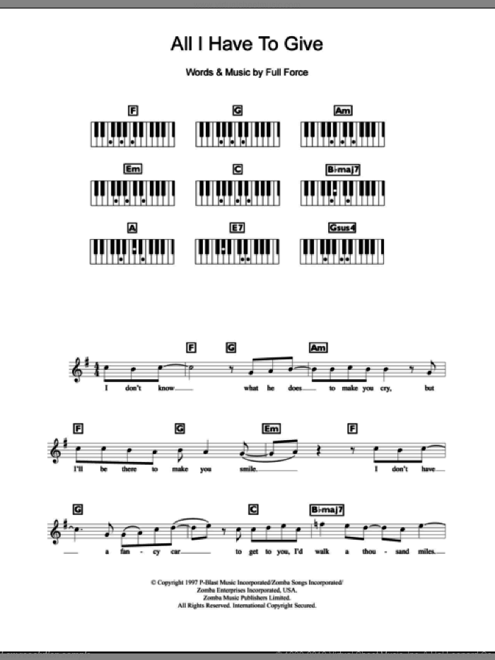 All I Have To Give sheet music for piano solo (chords, lyrics, melody) by Backstreet Boys, intermediate piano (chords, lyrics, melody). Score Image Preview.