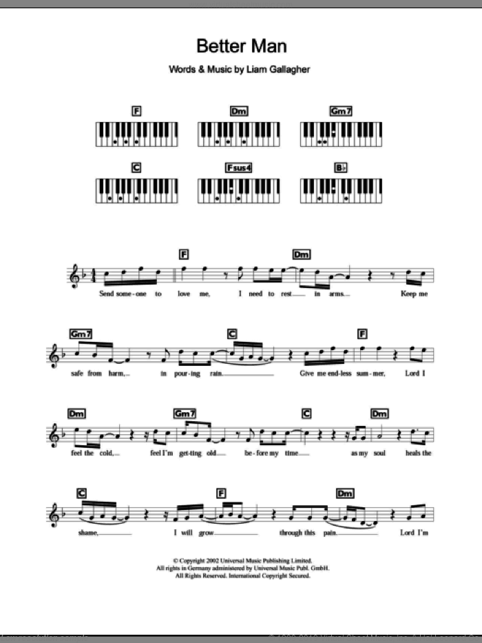 Better Man sheet music for piano solo (chords, lyrics, melody) by Liam Gallagher