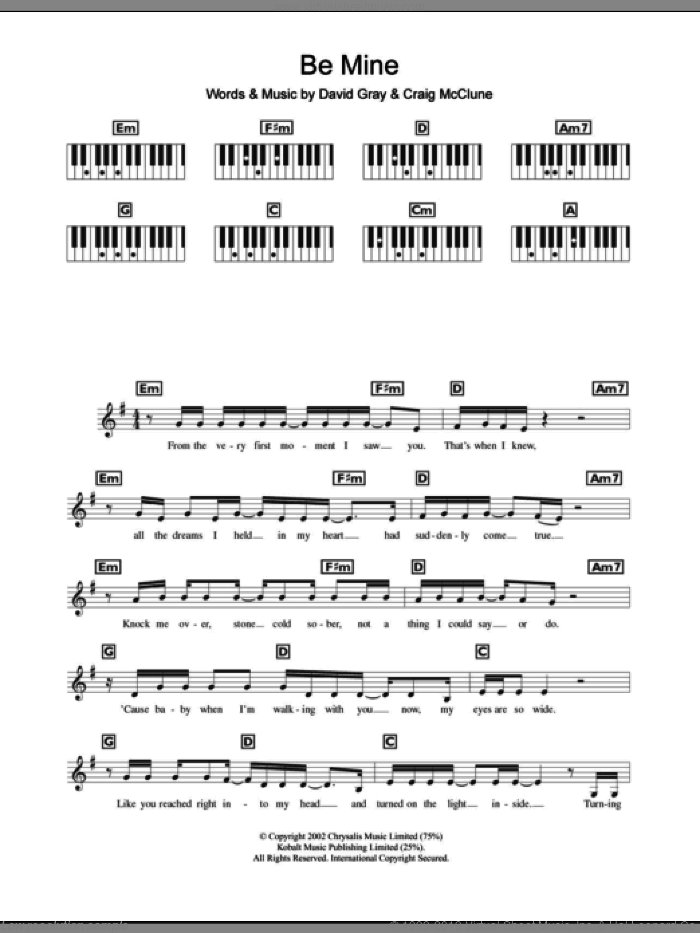 Be Mine sheet music for piano solo (chords, lyrics, melody) by David Gray and Craig McClune, intermediate piano (chords, lyrics, melody)