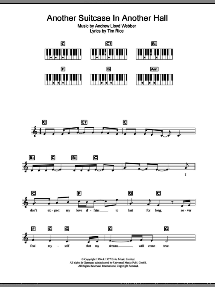 Another Suitcase In Another Hall sheet music for piano solo (chords, lyrics, melody) by Andrew Lloyd Webber and Tim Rice, intermediate piano (chords, lyrics, melody). Score Image Preview.