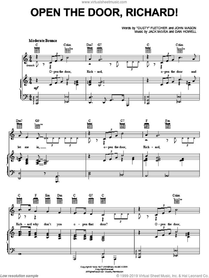Open The Door, Richard! sheet music for voice, piano or guitar by Louis Jordan, Count Basie, 'Dusty' Fletcher, Dan Howell, Jack McVea and John Mason, intermediate skill level