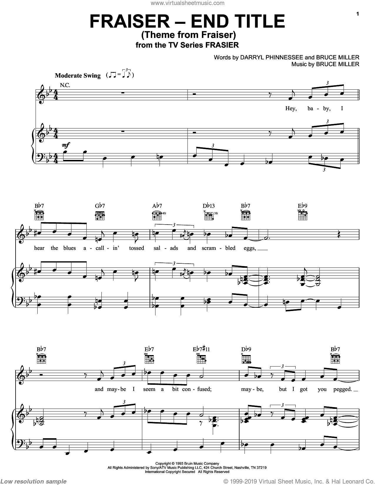 Theme From Frasier sheet music for voice, piano or guitar by Bruce Miller and Darryl Phinnessee, intermediate skill level