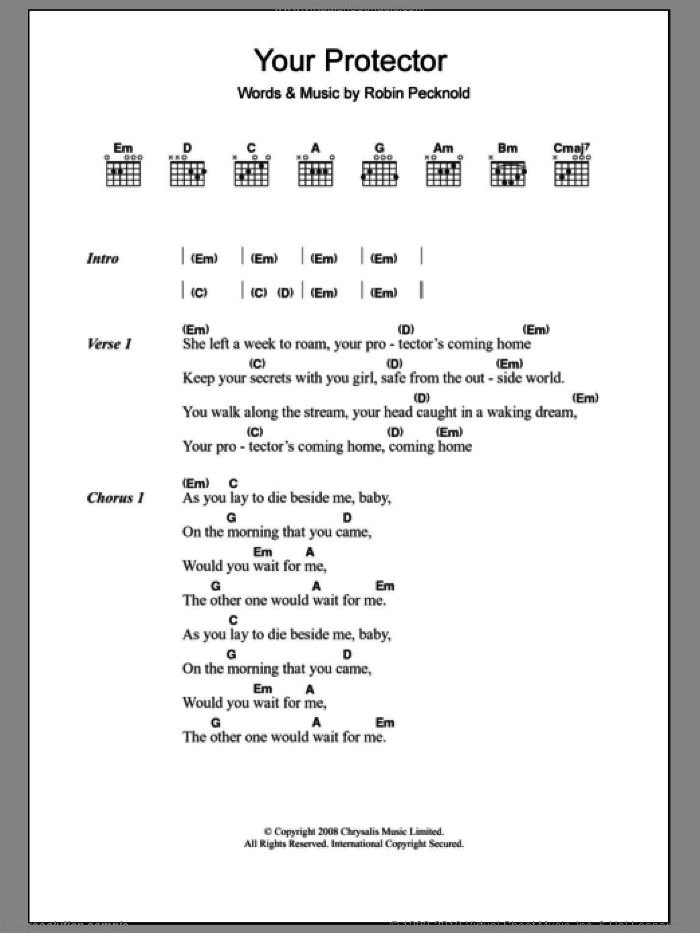 Your Protector sheet music for guitar (chords) by Robin Pecknold and Fleet Foxes. Score Image Preview.