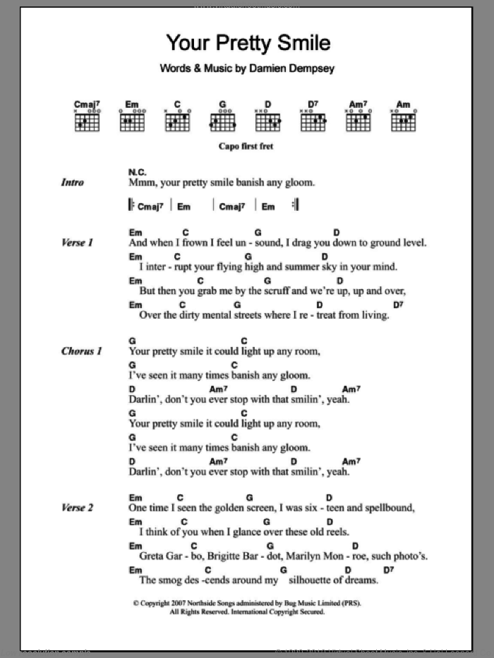 Your Pretty Smile sheet music for guitar (chords) by Damien Dempsey. Score Image Preview.