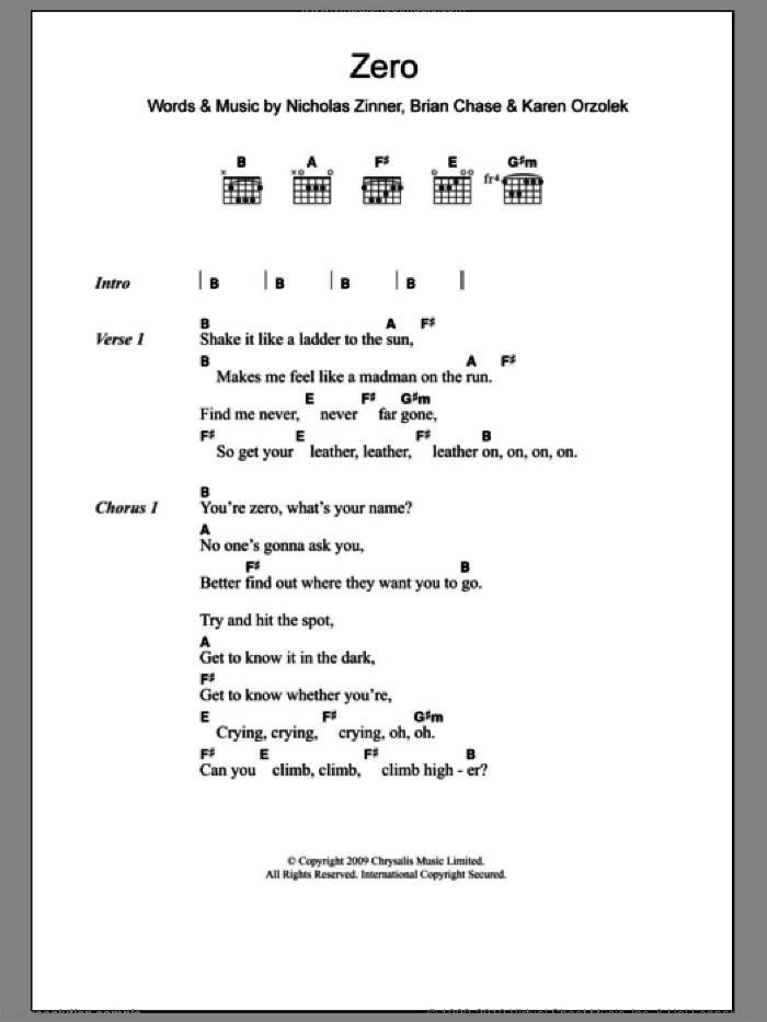 Zero sheet music for guitar (chords) by Nick Zinner, Yeah Yeah Yeahs and Brian Chase. Score Image Preview.
