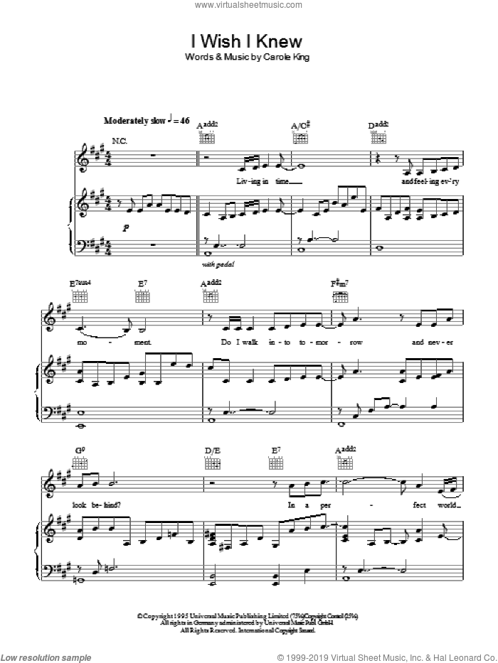 I Wish I Knew sheet music for voice, piano or guitar by Carole King, intermediate. Score Image Preview.