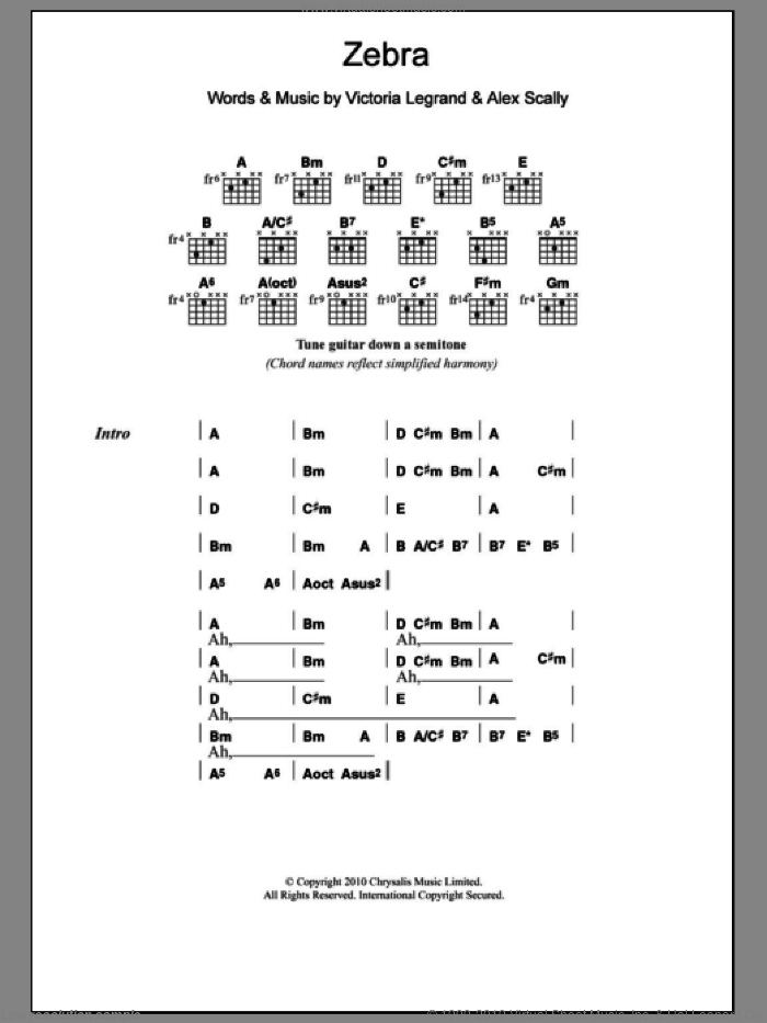 Zebra sheet music for guitar (chords) by Victoria Legrand. Score Image Preview.