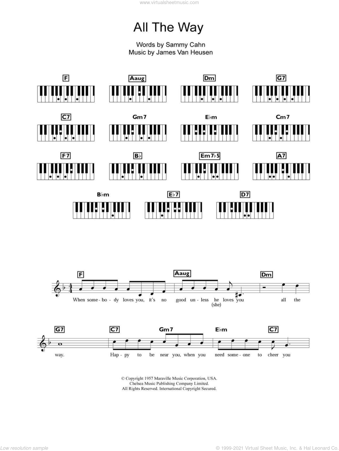 All The Way sheet music for piano solo (chords, lyrics, melody) by Sammy Cahn, Frank Sinatra and Jimmy van Heusen