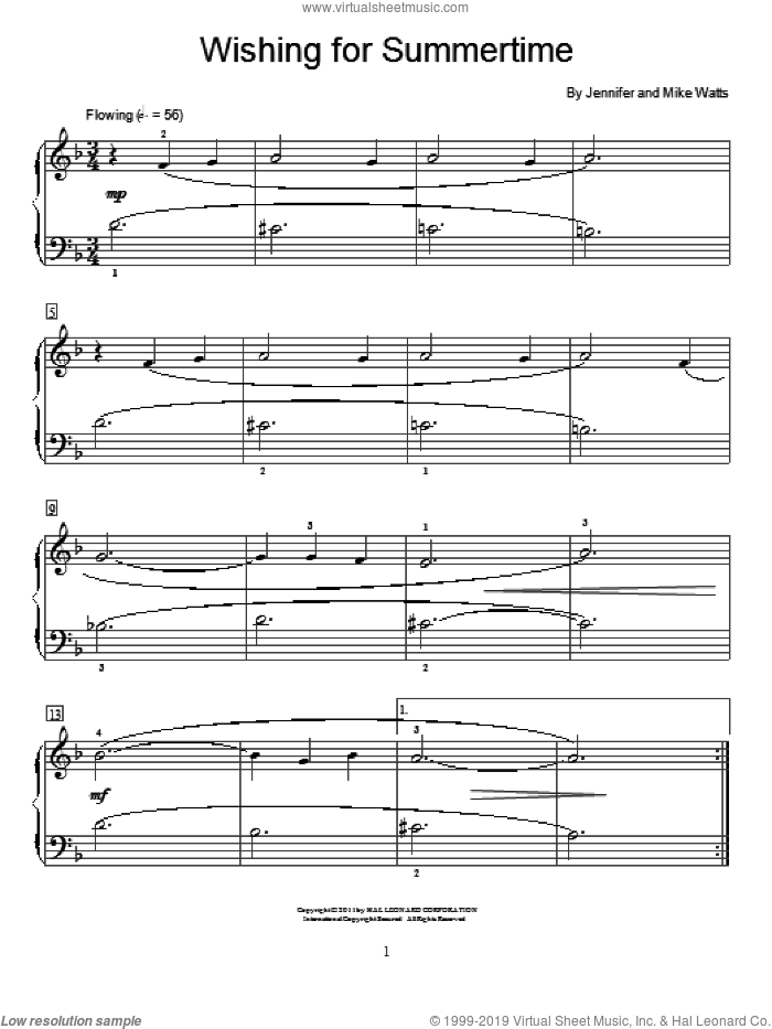 Wishing For Summertime sheet music for piano solo (elementary) by Jennifer Watts and Mike Watts, beginner piano (elementary)