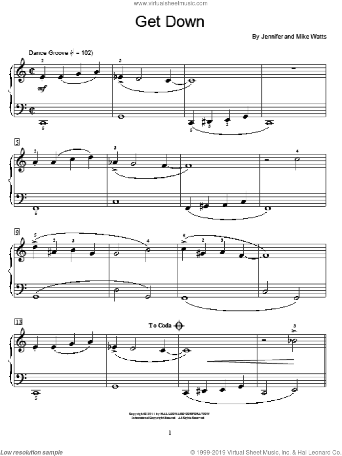Get Down sheet music for piano solo (elementary) by Jennifer Watts and Mike Watts. Score Image Preview.