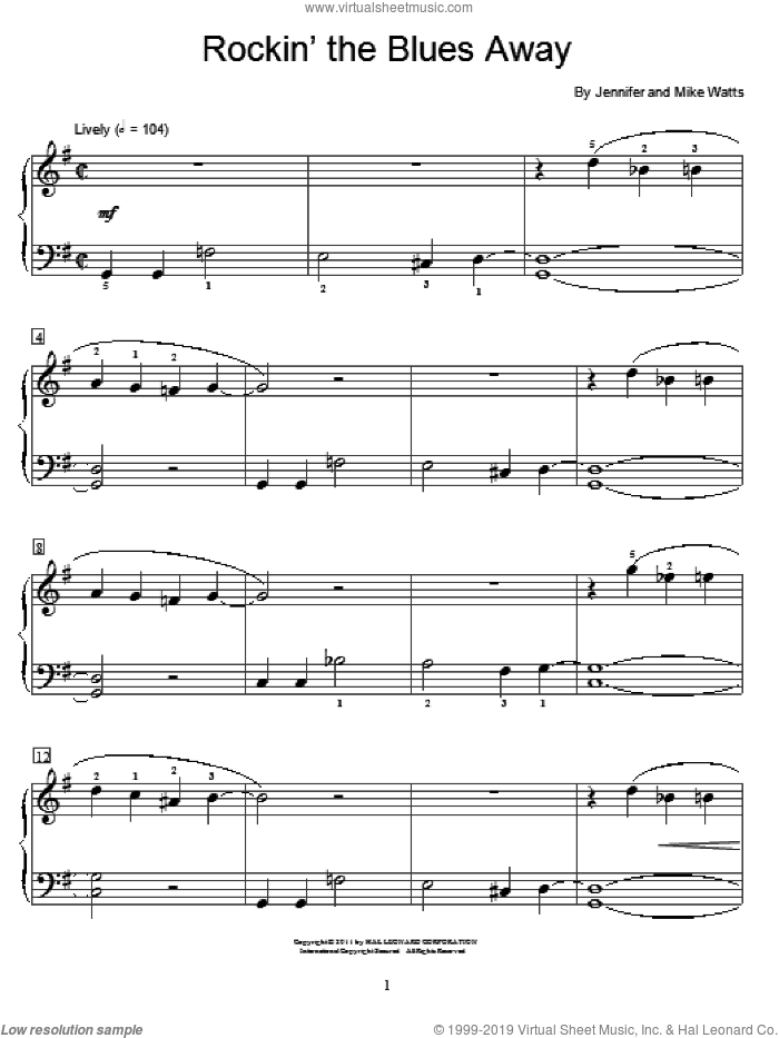 Rockin' The Blues Away sheet music for piano solo (elementary) by Jennifer Watts and Mike Watts, beginner piano (elementary)