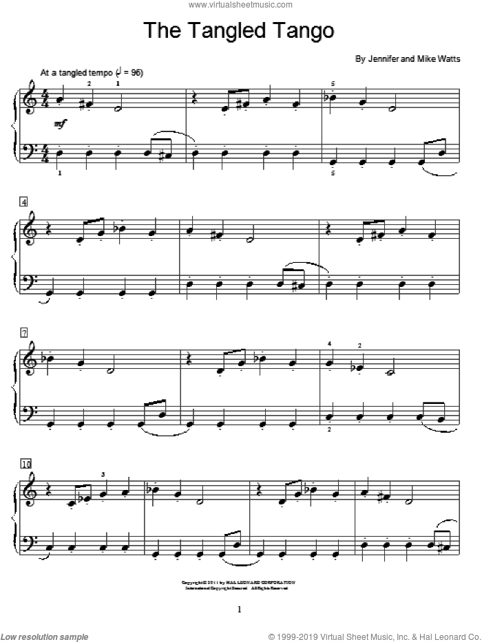 The Tangled Tango sheet music for piano solo (elementary) by Jennifer Watts and Mike Watts, beginner piano (elementary). Score Image Preview.