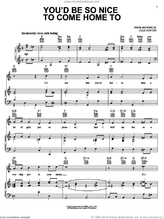 You'd Be So Nice To Come Home To sheet music for voice, piano or guitar by Cole Porter