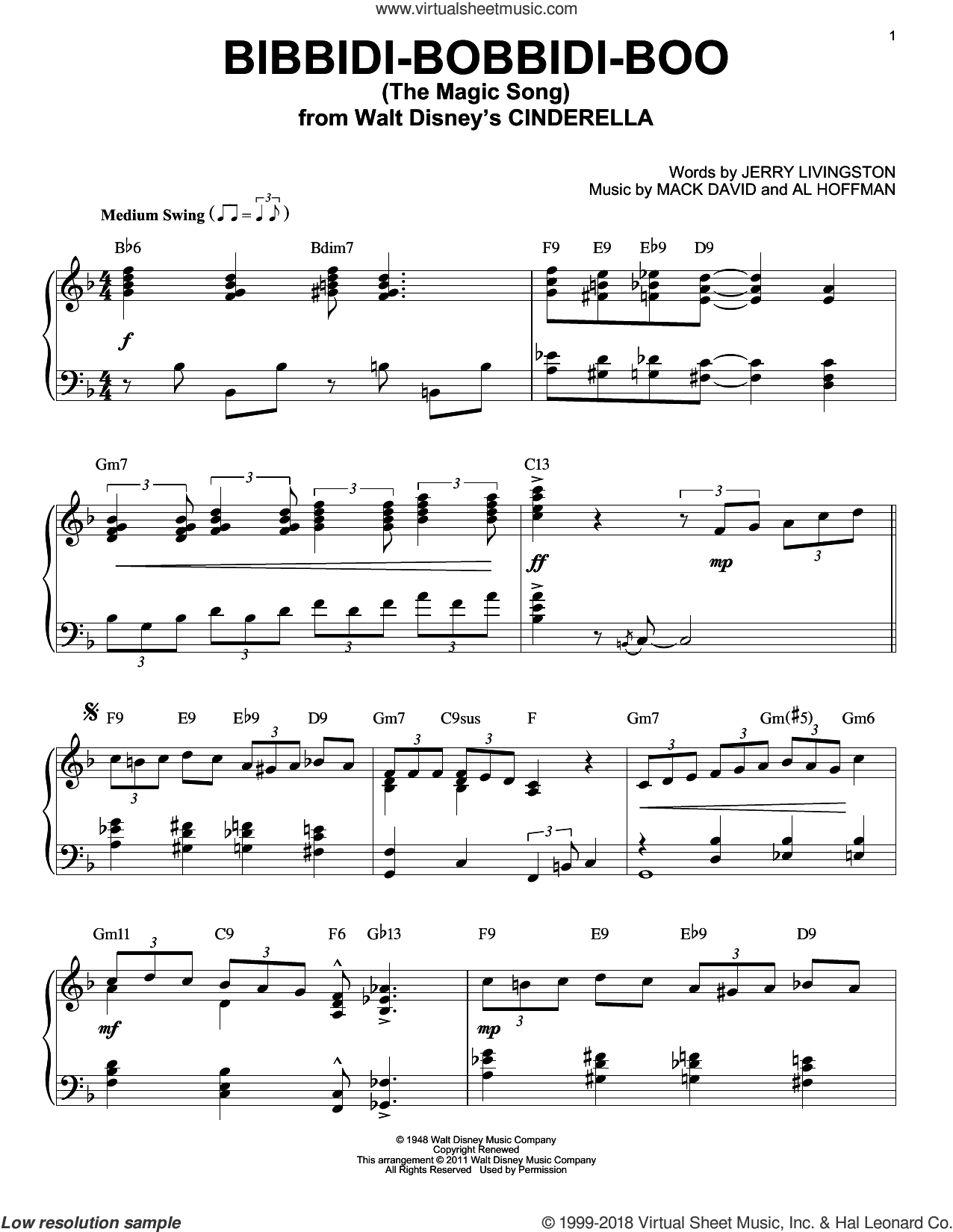 Bibbidi-Bobbidi-Boo (The Magic Song) sheet music for piano solo by Verna Felton, Al Hoffman, Jerry Livingston and Mack David, intermediate skill level