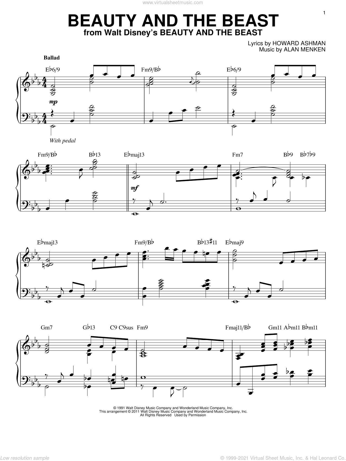 Beauty And The Beast sheet music for piano solo by Howard Ashman