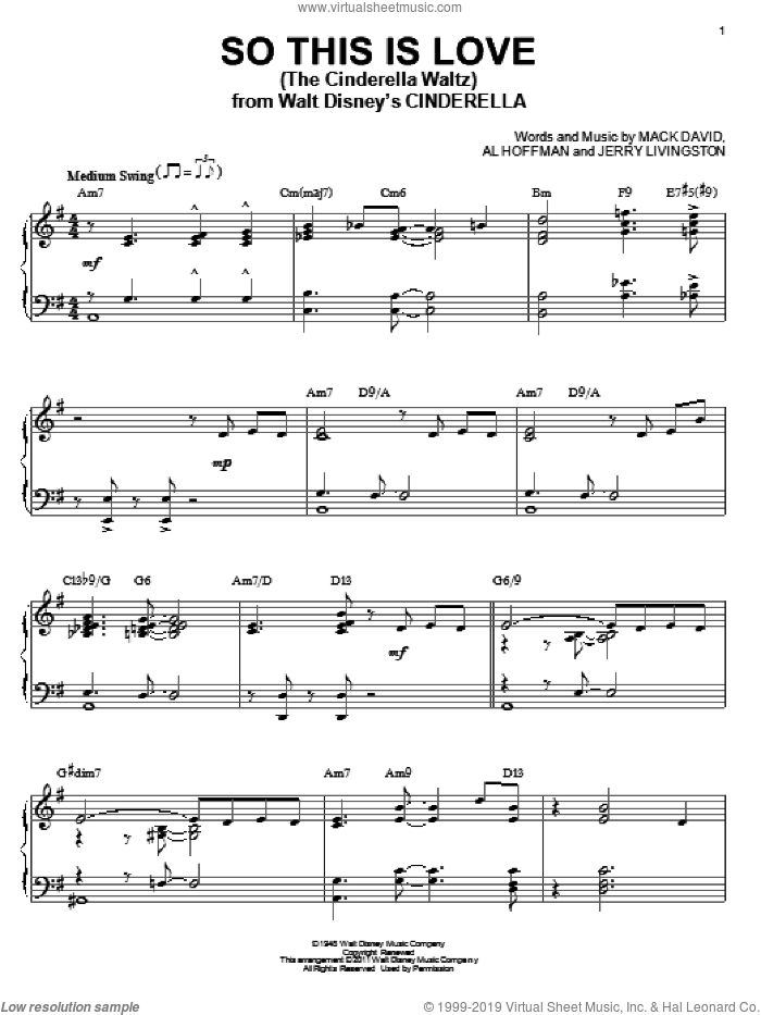 So This Is Love (The Cinderella Waltz) sheet music for piano solo by Mack David, James Ingram, Al Hoffman and Jerry Livingston, intermediate skill level