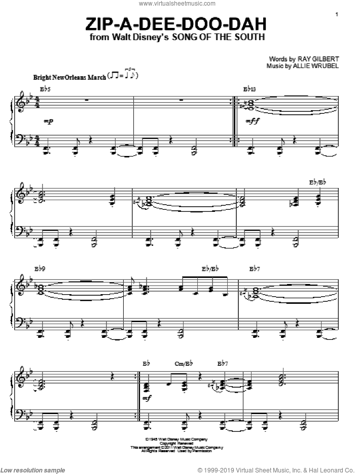 Zip-A-Dee-Doo-Dah, (intermediate) sheet music for piano solo by Ray Gilbert and Allie Wrubel, intermediate skill level