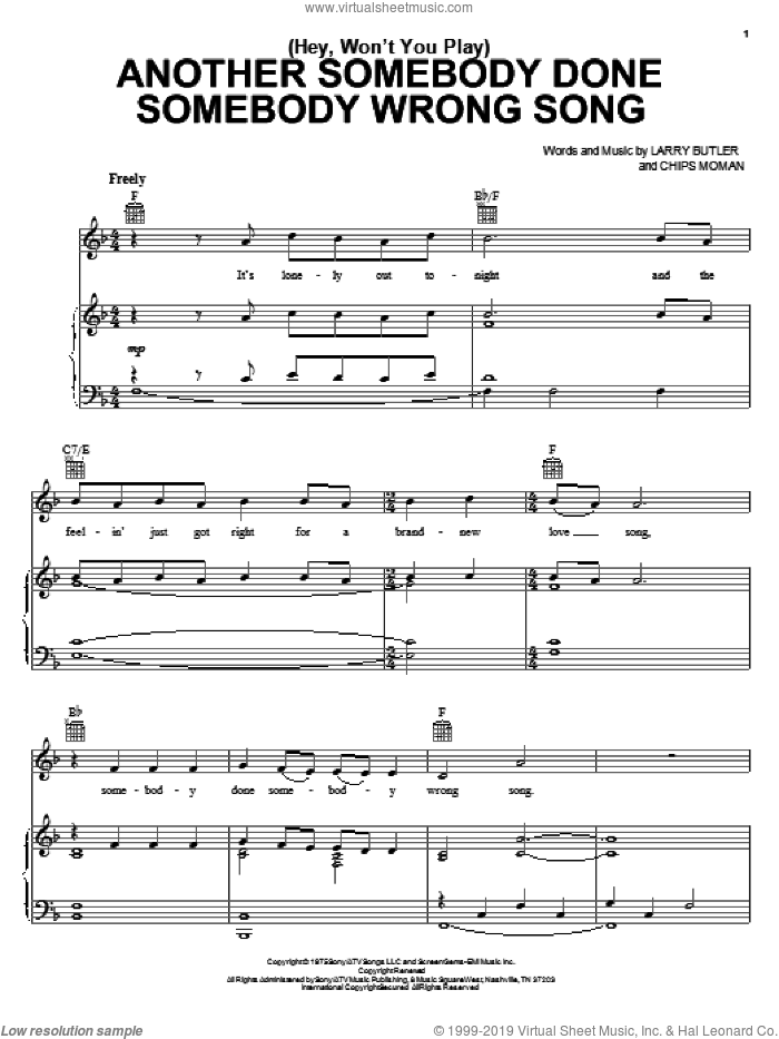(Hey, Won't You Play) Another Somebody Done Somebody Wrong Song sheet music for voice, piano or guitar by B.J. Thomas, intermediate. Score Image Preview.