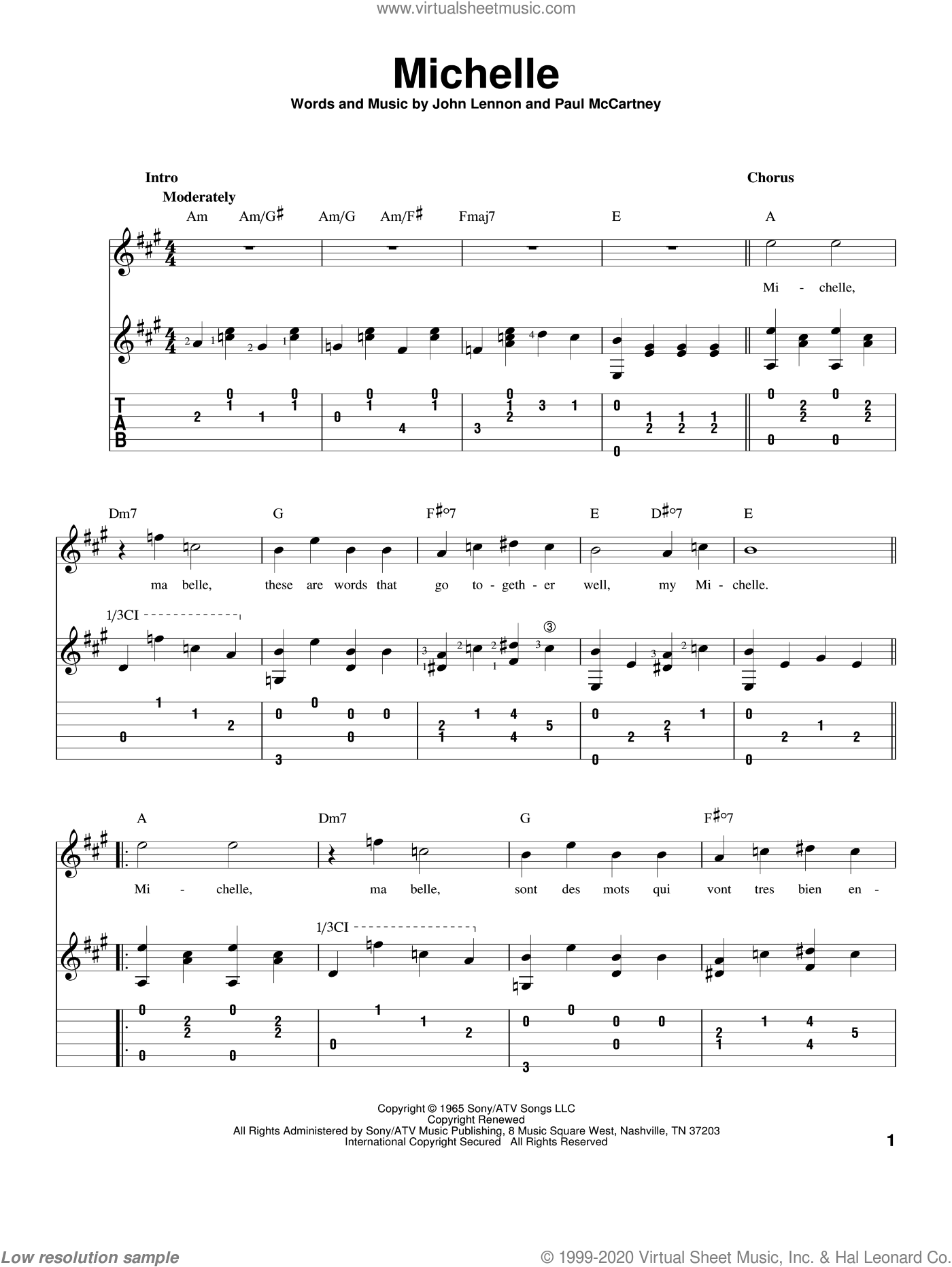 Michelle sheet music for guitar solo by Paul McCartney, The Beatles and John Lennon. Score Image Preview.