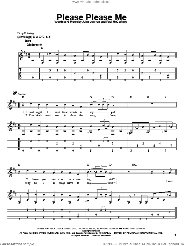 Please Please Me sheet music for guitar solo by The Beatles, John Lennon and Paul McCartney, intermediate skill level