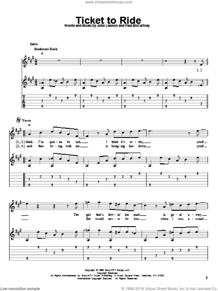 Ticket To Ride sheet music for guitar solo by The Beatles, John Lennon and Paul McCartney, intermediate skill level