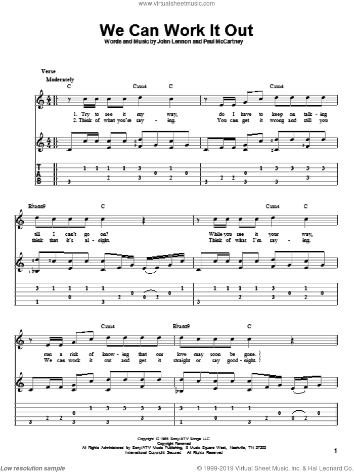 We Can Work It Out sheet music for guitar solo by The Beatles, John Lennon and Paul McCartney, intermediate skill level