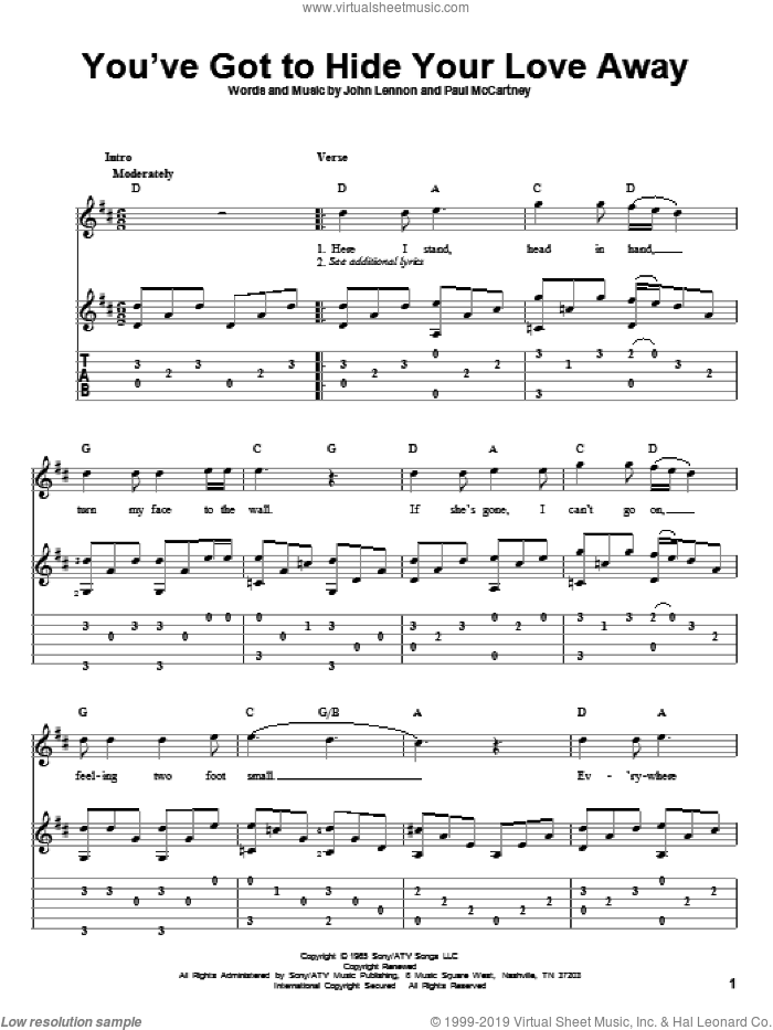 You've Got To Hide Your Love Away sheet music for guitar solo by Paul McCartney