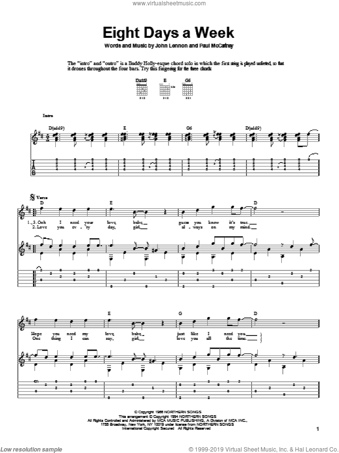 Eight Days A Week sheet music for guitar solo by The Beatles, John Lennon and Paul McCartney. Score Image Preview.