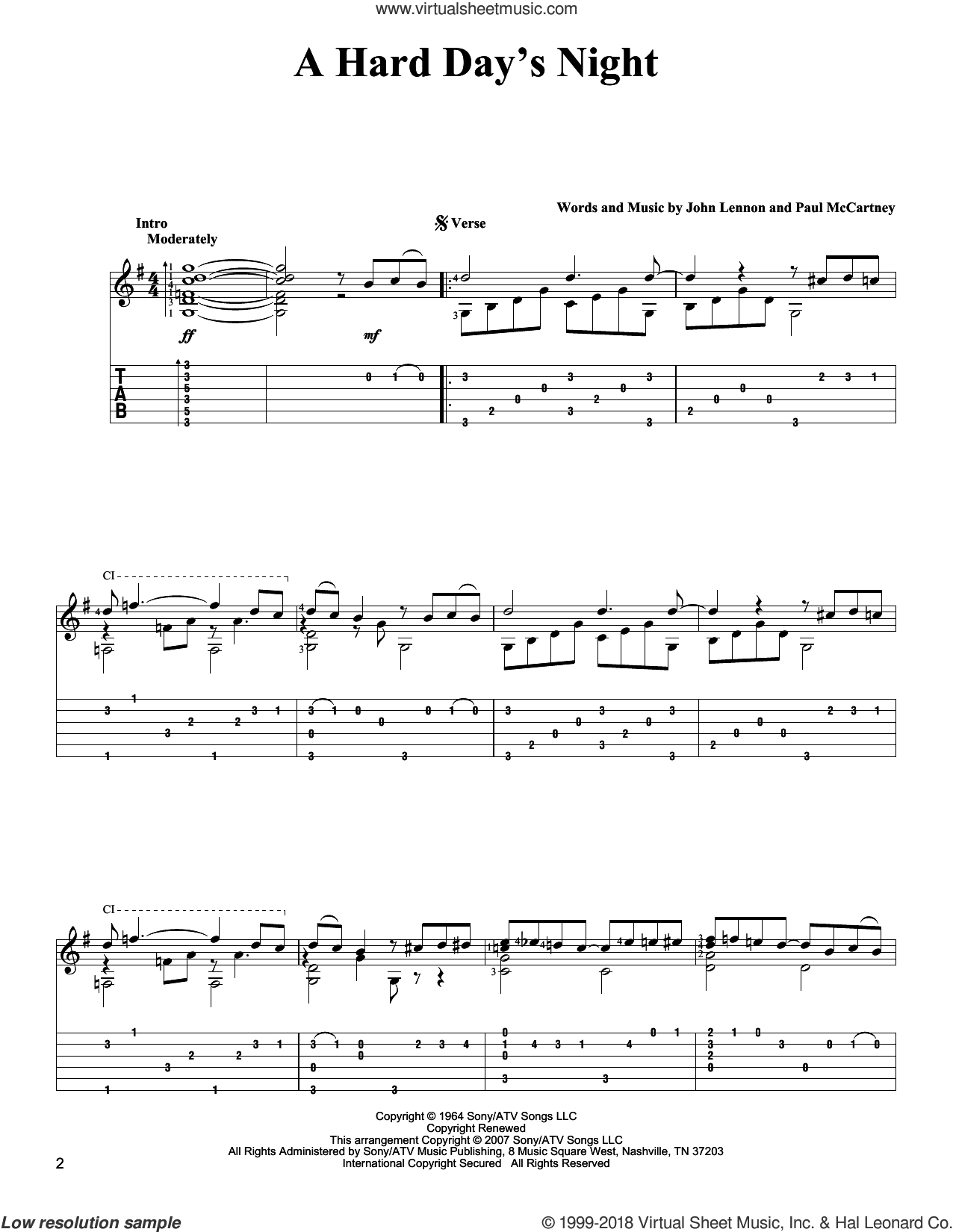 A Hard Day's Night sheet music for guitar solo by The Beatles, John Lennon and Paul McCartney, intermediate skill level