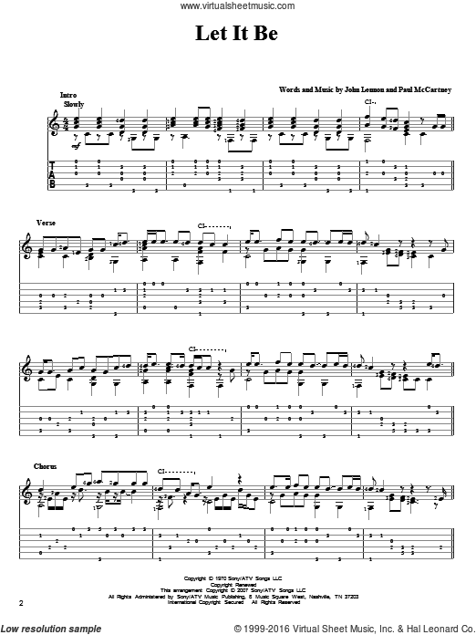 Let It Be sheet music for guitar solo by The Beatles, John Lennon and Paul McCartney. Score Image Preview.