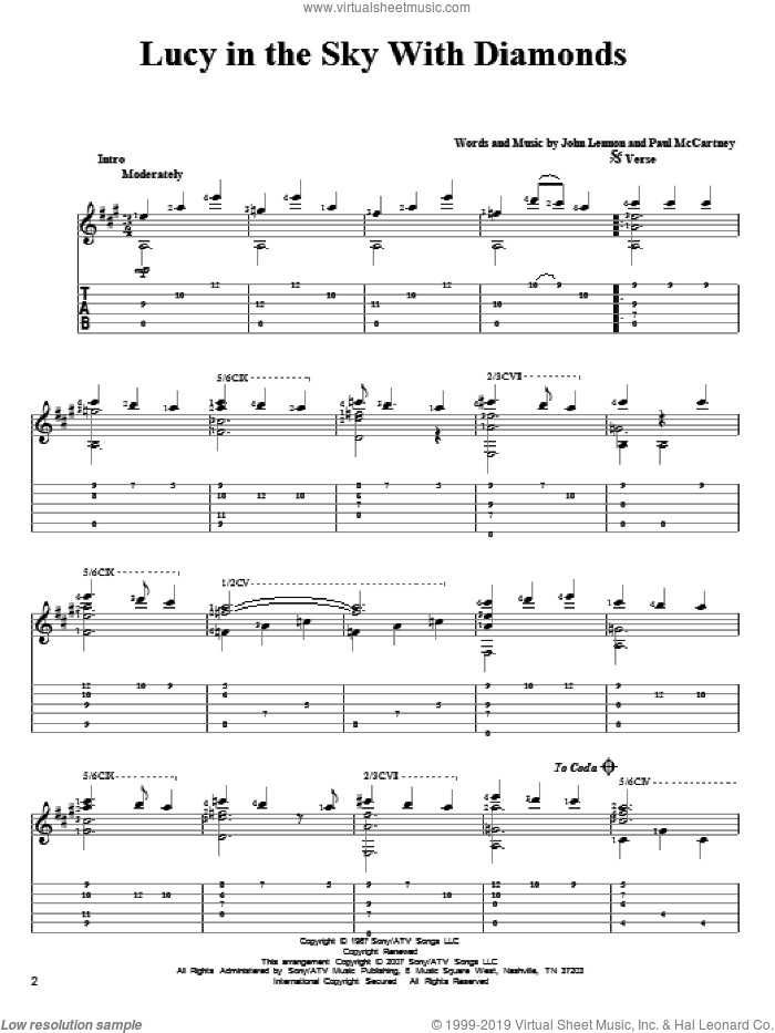 Lucy In The Sky With Diamonds sheet music for guitar solo by Paul McCartney, The Beatles and John Lennon. Score Image Preview.