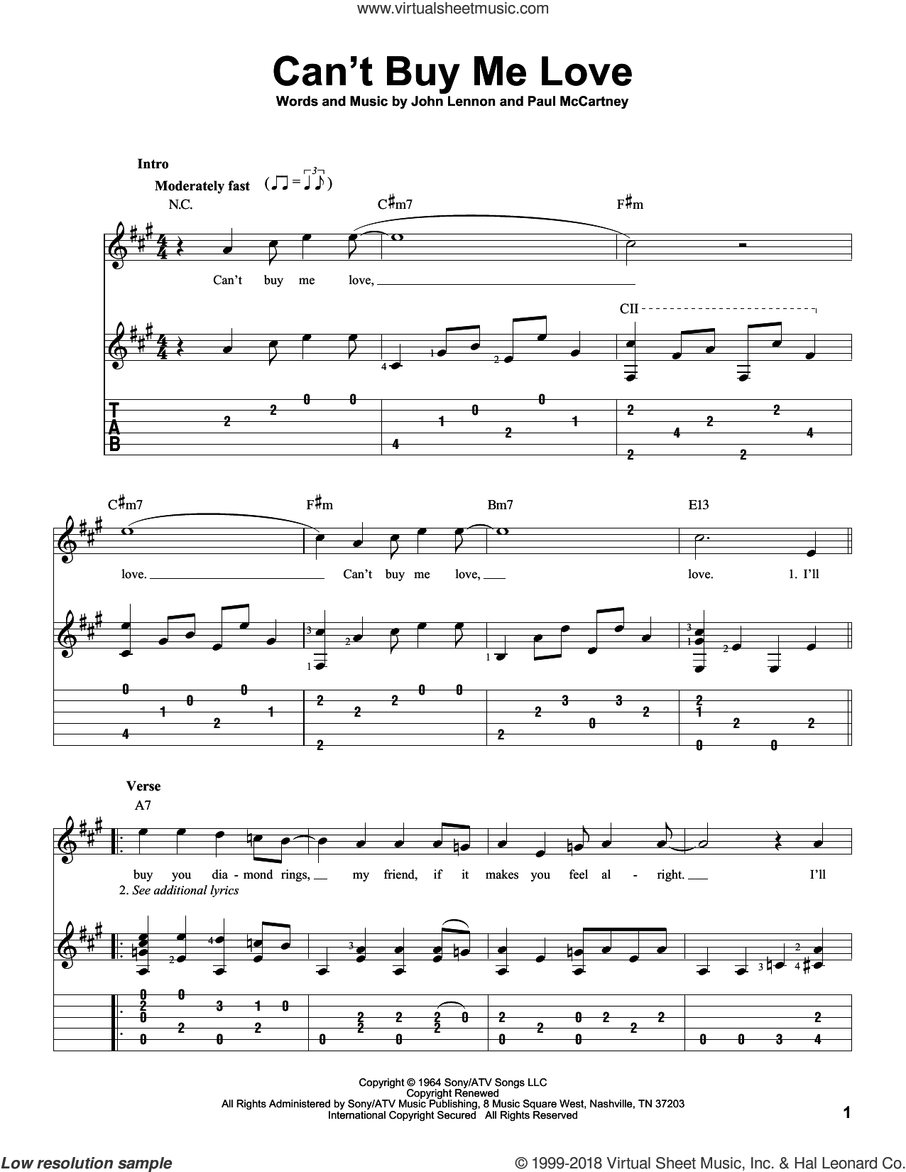 Can't Buy Me Love sheet music for guitar solo by The Beatles, John Lennon and Paul McCartney, intermediate guitar. Score Image Preview.