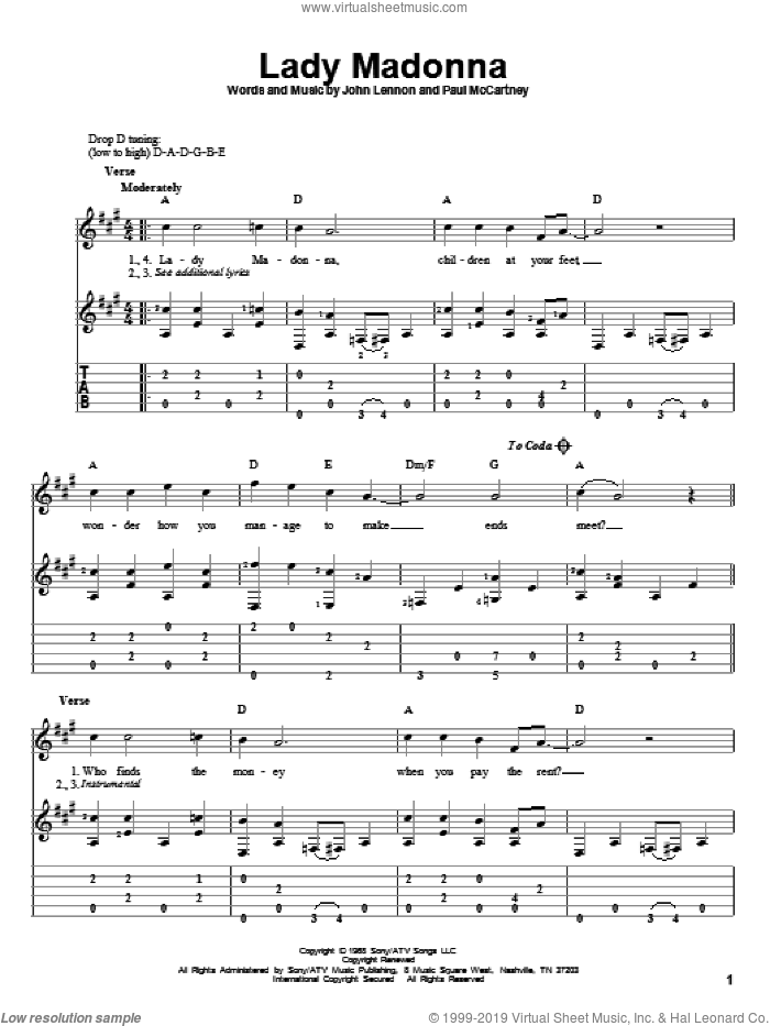 Lady Madonna sheet music for guitar solo by The Beatles, John Lennon and Paul McCartney, intermediate guitar. Score Image Preview.
