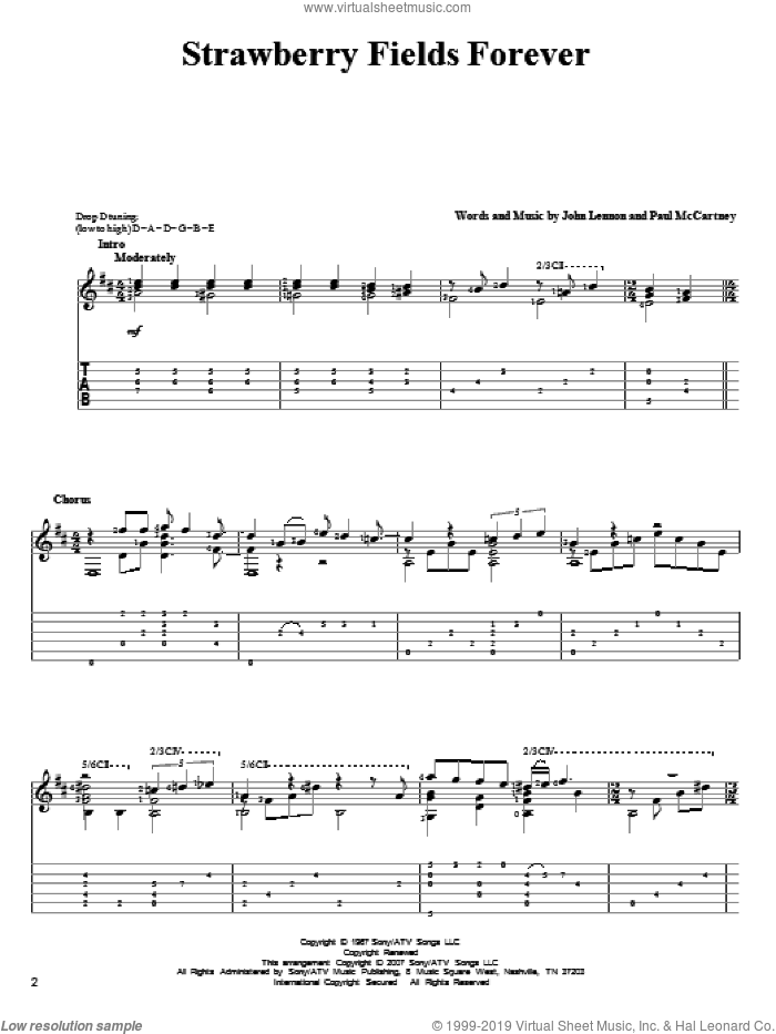 Strawberry Fields Forever sheet music for guitar solo by The Beatles, John Lennon and Paul McCartney. Score Image Preview.