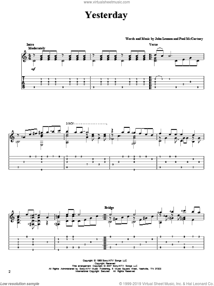 Yesterday sheet music for guitar solo by Paul McCartney