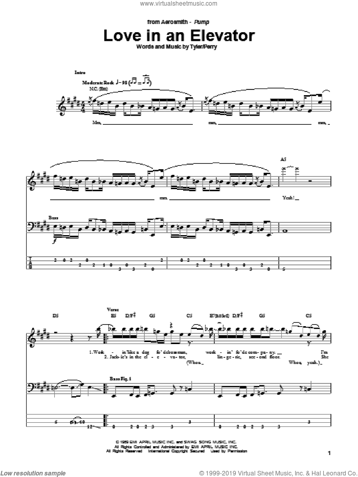 Love In An Elevator sheet music for bass (tablature) (bass guitar) by Steven Tyler, Aerosmith and Joe Perry. Score Image Preview.