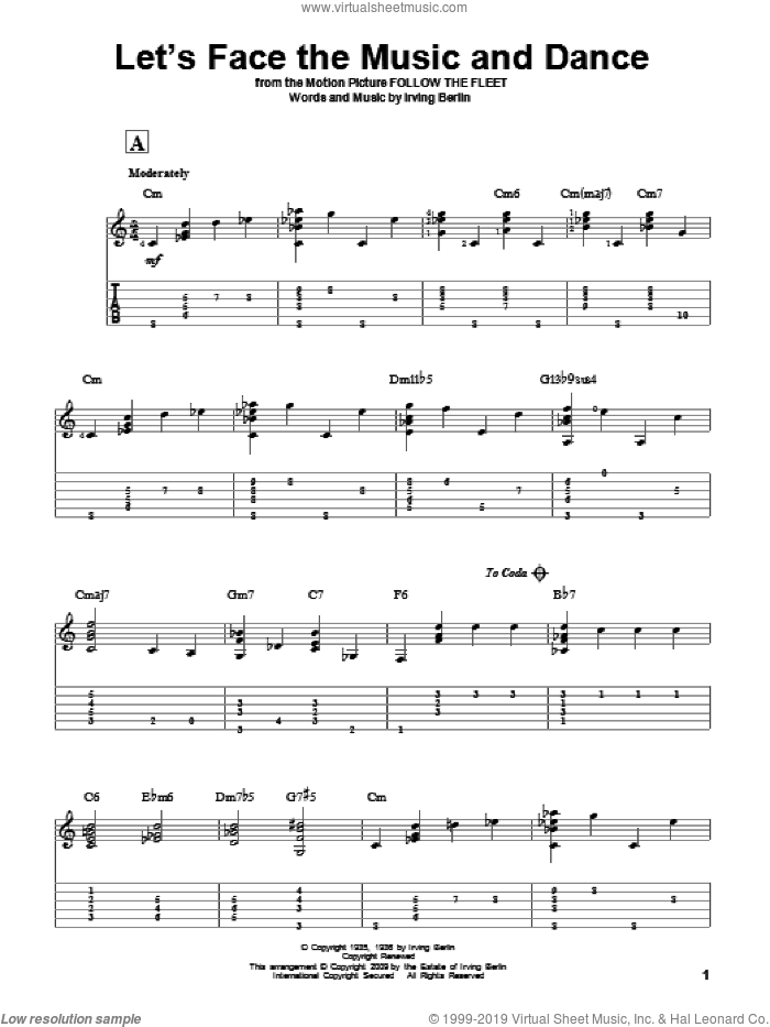 Let's Face The Music And Dance sheet music for guitar solo by Irving Berlin and Dick Hyman, intermediate skill level
