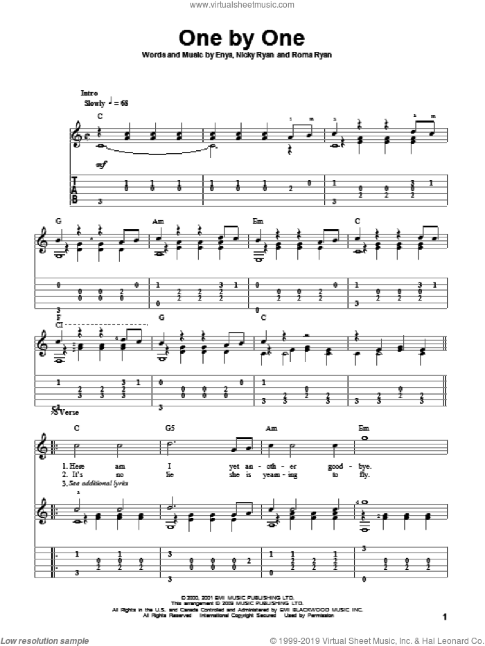 One By One sheet music for guitar solo by Roma Ryan