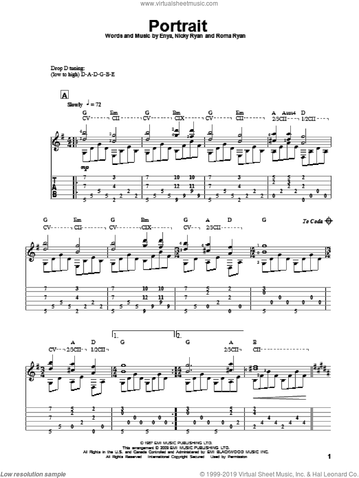 Portrait sheet music for guitar solo by Enya. Score Image Preview.