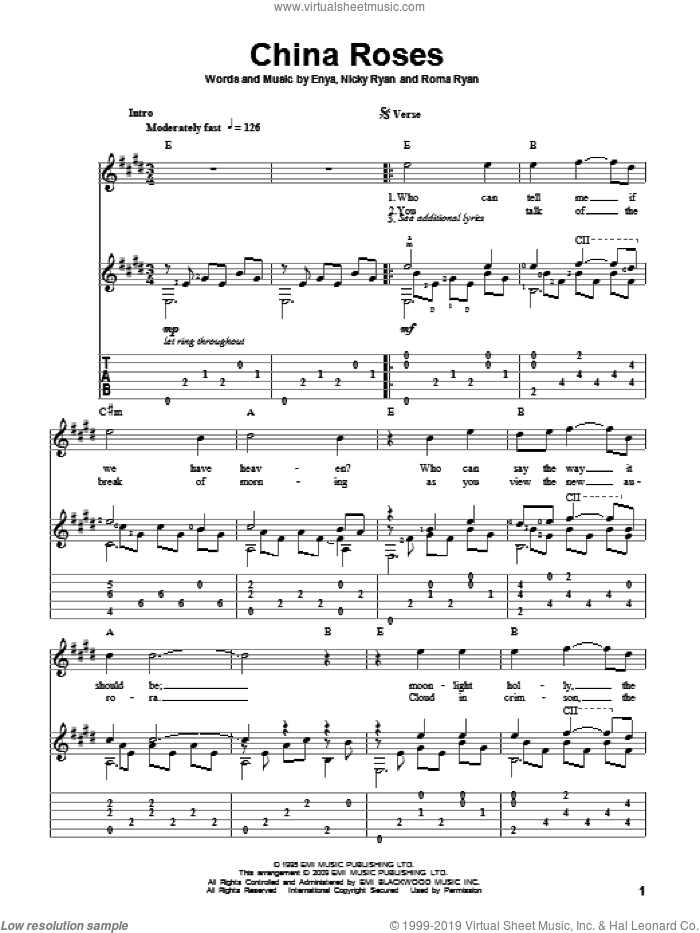 China Roses sheet music for guitar solo by Roma Ryan, Enya and Nicky Ryan. Score Image Preview.