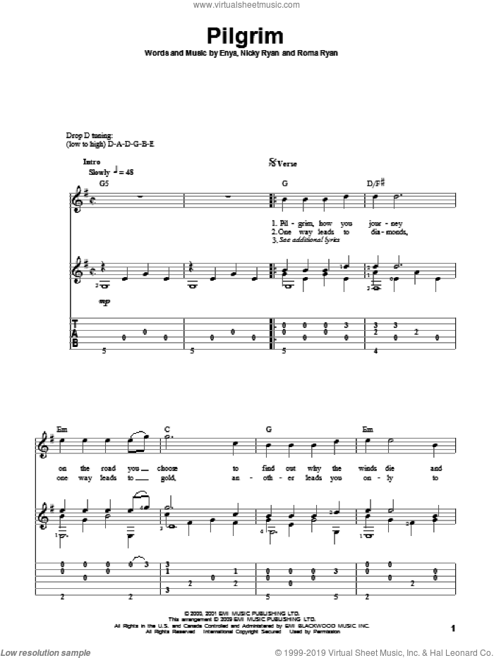 Pilgrim sheet music for guitar solo by Roma Ryan, Enya and Nicky Ryan