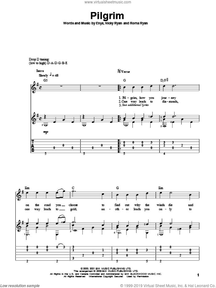 Pilgrim sheet music for guitar solo by Enya, Nicky Ryan and Roma Ryan, intermediate skill level